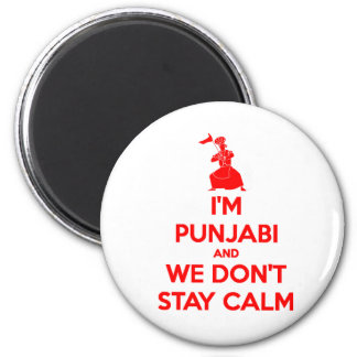 (RED) I'm Punjabi and We Don't Stay Calm Magnet