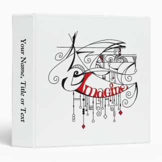 Red Imagine In Lines and Dangles 3 Ring Binder