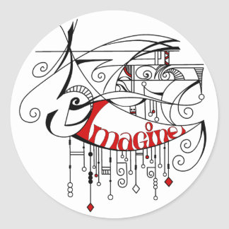 Red Imagine In Lines and Dangles Classic Round Sticker