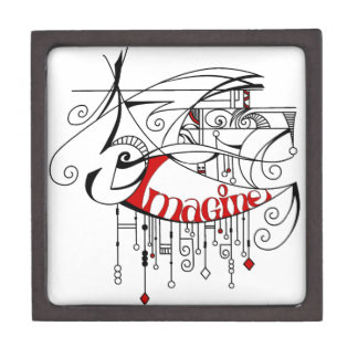 Red Imagine In Lines and Dangles Gift Box