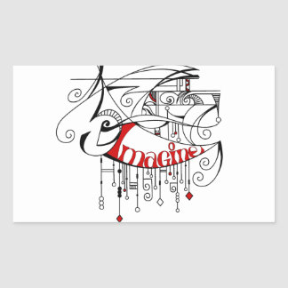 Red Imagine In Lines and Dangles Rectangular Sticker