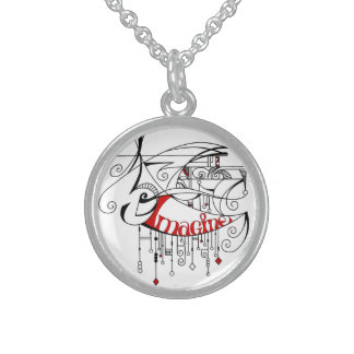 Red Imagine In Lines and Dangles Round Pendant Necklace