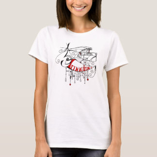 Red Imagine In Lines and Dangles T-Shirt