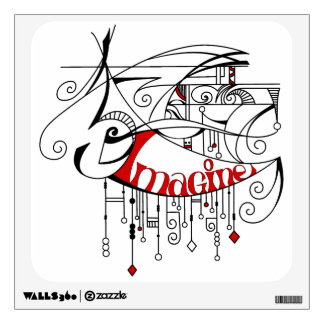 Red Imagine In Lines and Dangles Wall Decal