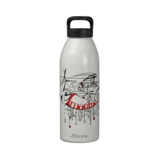 Red Imagine In Lines and Dangles Reusable Water Bottles