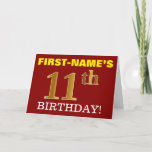 "[ Thumbnail: Red, Imitation Gold ""11th Birthday"" Birthday Card ]"