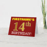 "[ Thumbnail: Red, Imitation Gold ""14th Birthday"" Birthday Card ]"