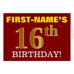 "[ Thumbnail: Red, Imitation Gold ""16th Birthday"" Birthday Card ]"