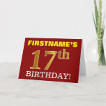 "[ Thumbnail: Red, Imitation Gold ""17th Birthday"" Birthday Card ]"
