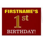 "[ Thumbnail: Red, Imitation Gold ""1st Birthday"" Birthday Card ]"