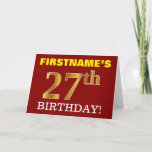 "[ Thumbnail: Red, Imitation Gold ""27th Birthday"" Birthday Card ]"