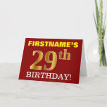 "[ Thumbnail: Red, Imitation Gold ""29th Birthday"" Birthday Card ]"