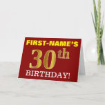 "[ Thumbnail: Red, Imitation Gold ""30th Birthday"" Birthday Card ]"