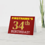 "[ Thumbnail: Red, Imitation Gold ""34th Birthday"" Birthday Card ]"