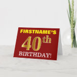 "[ Thumbnail: Red, Imitation Gold ""40th Birthday"" Birthday Card ]"