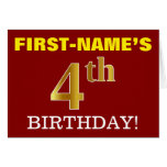 "[ Thumbnail: Red, Imitation Gold ""4th Birthday"" Birthday Card ]"