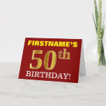 "[ Thumbnail: Red, Imitation Gold ""50th Birthday"" Birthday Card ]"