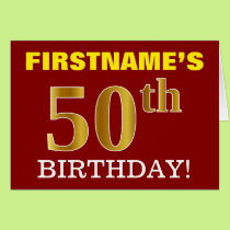 "Red, Imitation Gold ""50th BIRTHDAY"" Birthday Card"