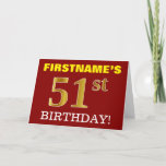 "[ Thumbnail: Red, Imitation Gold ""51st Birthday"" Birthday Card ]"