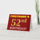 "[ Thumbnail: Red, Imitation Gold ""52nd Birthday"" Birthday Card ]"