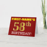 "[ Thumbnail: Red, Imitation Gold ""58th Birthday"" Birthday Card ]"