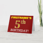 "[ Thumbnail: Red, Imitation Gold ""5th Birthday"" Birthday Card ]"