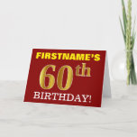 "[ Thumbnail: Red, Imitation Gold ""60th Birthday"" Birthday Card ]"