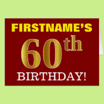 "Red, Imitation Gold ""60th BIRTHDAY"" Birthday Card"