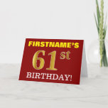 "[ Thumbnail: Red, Imitation Gold ""61st Birthday"" Birthday Card ]"