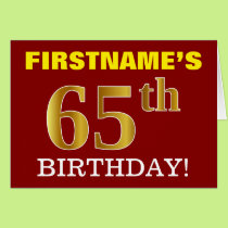 "Red, Imitation Gold ""65th BIRTHDAY"" Birthday Card"