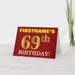 "[ Thumbnail: Red, Imitation Gold ""69th Birthday"" Birthday Card ]"