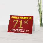 "[ Thumbnail: Red, Imitation Gold ""71st Birthday"" Birthday Card ]"