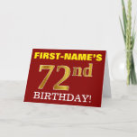 "[ Thumbnail: Red, Imitation Gold ""72nd Birthday"" Birthday Card ]"