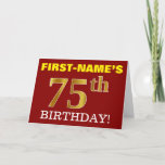 "[ Thumbnail: Red, Imitation Gold ""75th Birthday"" Birthday Card ]"