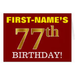 "[ Thumbnail: Red, Imitation Gold ""77th Birthday"" Birthday Card ]"
