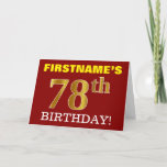 "[ Thumbnail: Red, Imitation Gold ""78th Birthday"" Birthday Card ]"
