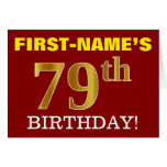 "[ Thumbnail: Red, Imitation Gold ""79th Birthday"" Birthday Card ]"