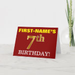 "[ Thumbnail: Red, Imitation Gold ""7th Birthday"" Birthday Card ]"