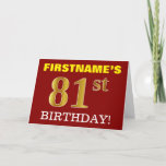"[ Thumbnail: Red, Imitation Gold ""81st Birthday"" Birthday Card ]"