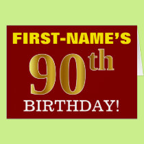 "Red, Imitation Gold ""90th BIRTHDAY"" Birthday Card"