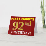 "[ Thumbnail: Red, Imitation Gold ""92nd Birthday"" Birthday Card ]"