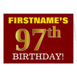 "[ Thumbnail: Red, Imitation Gold ""97th Birthday"" Birthday Card ]"