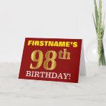 "[ Thumbnail: Red, Imitation Gold ""98th Birthday"" Birthday Card ]"