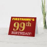 "[ Thumbnail: Red, Imitation Gold ""99th Birthday"" Birthday Card ]"