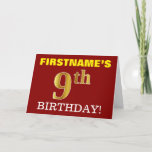 "[ Thumbnail: Red, Imitation Gold ""9th Birthday"" Birthday Card ]"