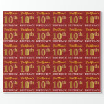 "[ Thumbnail: Red, Imitation Gold Look ""10th Birthday"" Wrapping Paper ]"