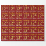 "[ Thumbnail: Red, Imitation Gold Look ""12th Birthday"" Wrapping Paper ]"