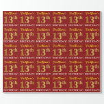 "[ Thumbnail: Red, Imitation Gold Look ""13th Birthday"" Wrapping Paper ]"