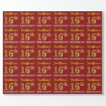 "[ Thumbnail: Red, Imitation Gold Look ""16th Birthday"" Wrapping Paper ]"