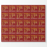 "[ Thumbnail: Red, Imitation Gold Look ""17th Birthday"" Wrapping Paper ]"